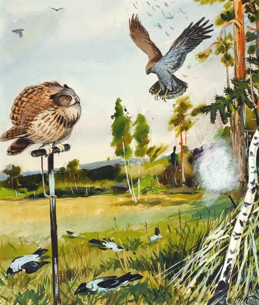 Комаров Алексей Никанорович (1879–1977) Эскиз иллюстрации. 1950-е. Бумага, графитный карандаш, акварель, белила, 23,7 х 20,2 см.