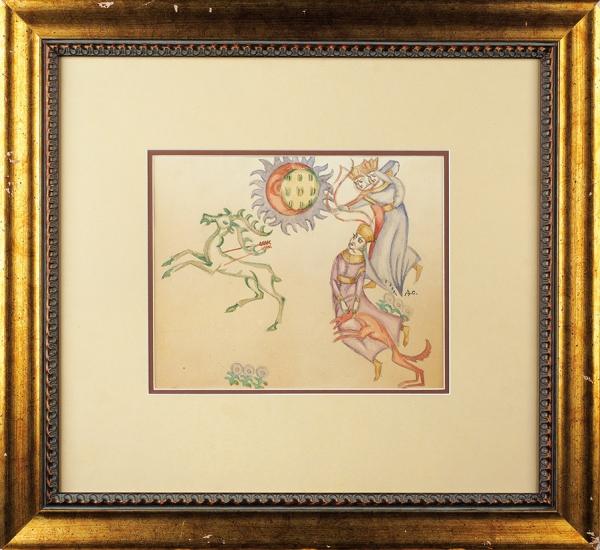 Стеллецкий Дмитрий Семёнович (1875–1947) «Охота». Эскиз иллюстрации. 1910-е. Бумага, графитный карандаш, акварель, 26x26,5 см.
