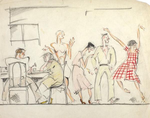 Гольц Георгий Павлович (1893—1946) «В столовой». Эскиз иллюстрации для журнала. 1930-е. Бумага, графитный и цветные карандаши, 20,5 х 25,4 см.