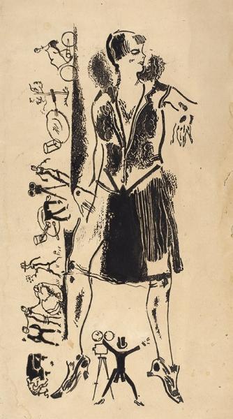 Гольц Георгий Павлович (1893–1946) «Рабкорка из Лос Анжелос». Иллюстрация для журнала. 1927. Бумага, тушь, кисть, перо, 33,3 х 21,6 см.