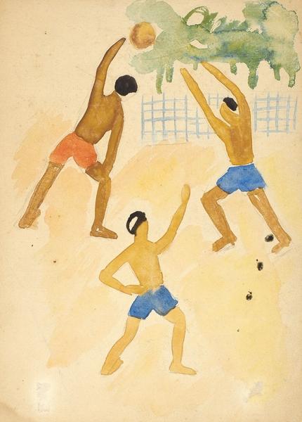 Соколова Ольга Александровна (1899 (1901)–1991) Эскиз иллюстрации к книге «Книжка о пионерлагере». 1933. Бумага, графитный карандаш, акварель, 24,2 х 17,5 см.