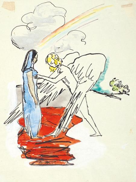 Жолткевич Лидия Александровна (1900—1989(1991)) Иллюстрации к поэме А.С. Пушкина «Гаврилиада». 2 листа. 1940. Бумага, тушь, перо, акварель, белила, 18,3 х 14 см; 19,5 х 15,1 см.