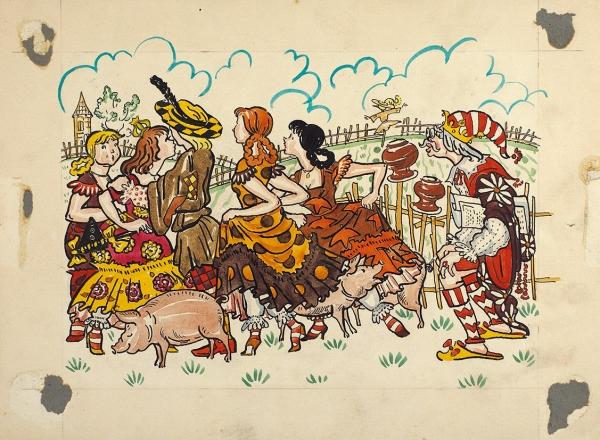 Антокольская Наталья Павловна (1921—1981) Эскиз иллюстрации к сказке Г.-Х. Андерсона «Свинопас». 1957. Бумага, акварель, тушь, перо, 20,8 х 28,1 см.