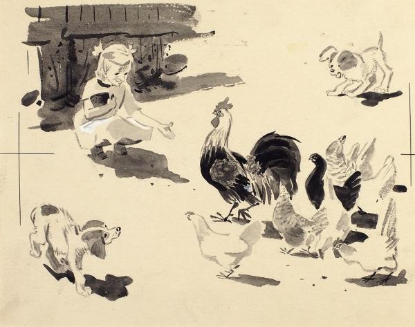 Лосин Вениамин Николаевич (1931–2012) Иллюстрации к книге Я. Грабовского «Рекся и Пуцек». 2 листа. 1956. Бумага, графитный карандаш, тушь, кисть, белила, 16,6 х 20,1 см, 13 х 19,1 см.
