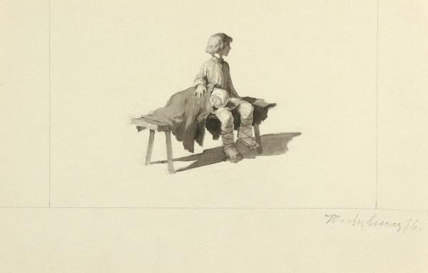 Лившиц Татьяна Исааковна (1925–2010) Эскиз иллюстрации. 1996. Бумага, акварель, белила, 12,8 х 19,9 см.
