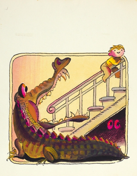 Токмаков Лев Александрович (1928—2010) Иллюстрация к книге И.П. Токмаковой «Весело и грустно». 1969. Бумага, тушь, перо, акварель, 22,4 х 17,5 см.