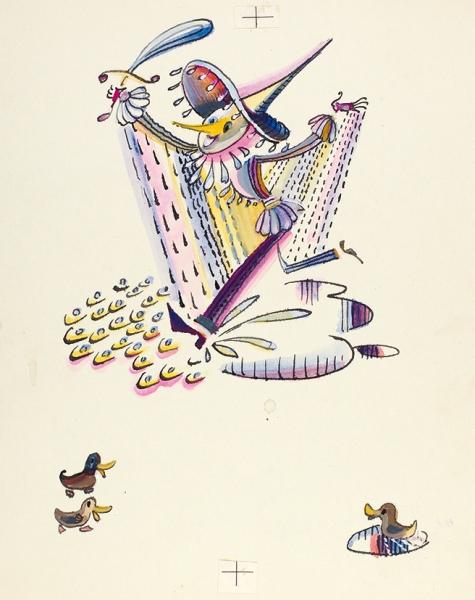 Токмаков Лев Александрович (1928—2010) Иллюстрация к книге И.П. Токмаковой «Весело и грустно». 1969. Бумага, тушь, перо, акварель, 22,6 х 17,8 см.
