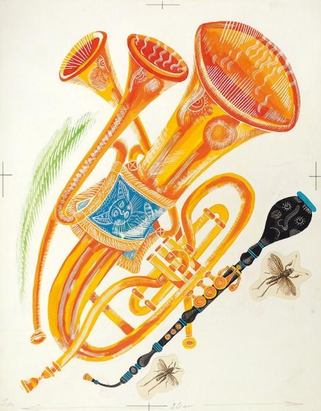 Стацинский Виталий Казимирович (1928–2010) Иллюстрации к книге Г. Сапгира «До ре ми». 19 эскизов и 20 пробных оттисков. 1968. Бумага, смешанная техника, процарапывание, аппликация, 30 х 23,5 см.