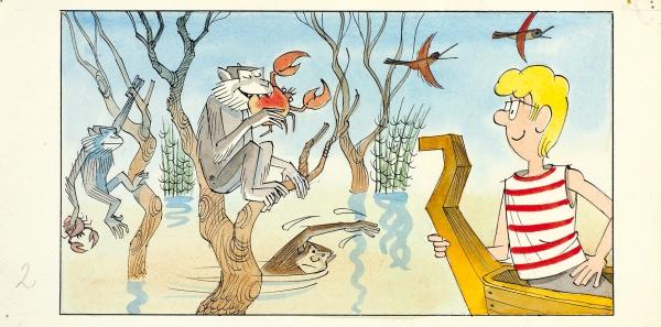 Чижиков Виктор Александрович (род. 1935) Эскиз иллюстрации. 1970-е. Бумага, тушь, перо, акварель, 11 х 22 см.
