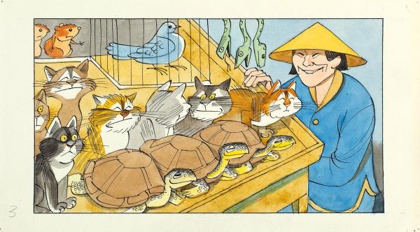 Чижиков Виктор Александрович (род. 1935) Эскиз иллюстрации. 1970-е. Бумага, тушь, перо, акварель, 12 х 21,9 см.