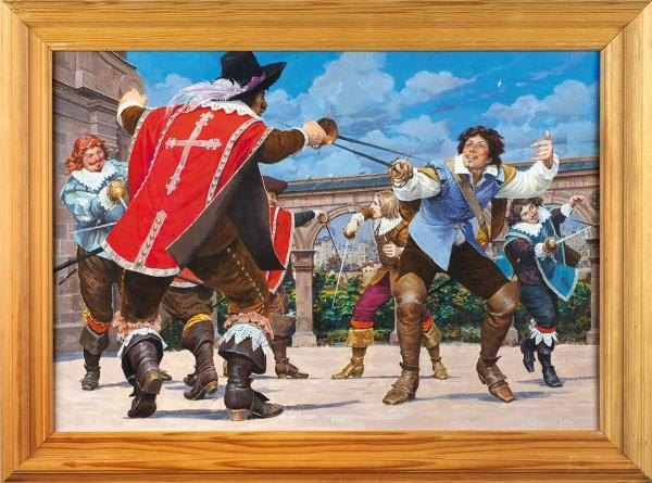 Гордеев Денис Дмитриевич (род. 1964) Иллюстрация к роману А. Дюма «Три мушкетера». 2011. Холст, акрил, 35 х 50 см.