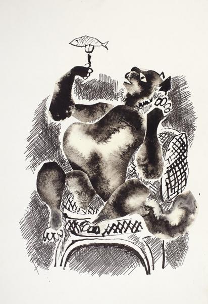 Сапожников Александр Васильевич (1925–2009) Эскизы иллюстраций к роману М. Булгакова «Мастер и Маргарита». 47 листов. Начало 2000-х. Бумага, тушь, перо, кисть, белила, аппликация, от 19 х 15 см до 35 х 25 см.