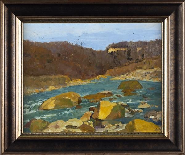 Сергеев Николай Сергеевич (1908–1989) «Перекат». 1955. Картон, масло, 33 х 41 см.