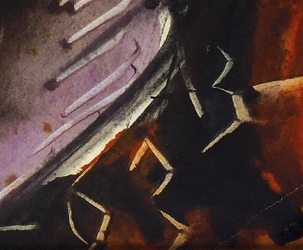 Зверев Анатолий Тимофеевич (1931–1986) «Женский портрет у окна (Второй секретарь французского посольства в Москве)». 1963. Бумага, акварель, 81x58 см (в свету).