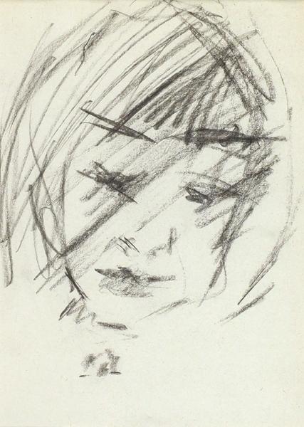 Зверев Анатолий Тимофеевич (1931–1986) «Женский портрет». 1964. Бумага, пастель, 20 х 14,3 см.
