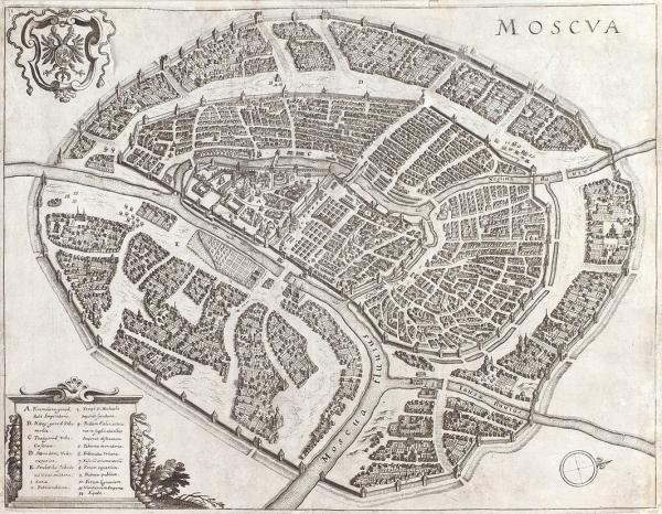[Как выглядела Москва во времена Бориса Годунова] MOSCVA / гравер Mаттеус Meриан. Франкфурт на Майне, [1638].