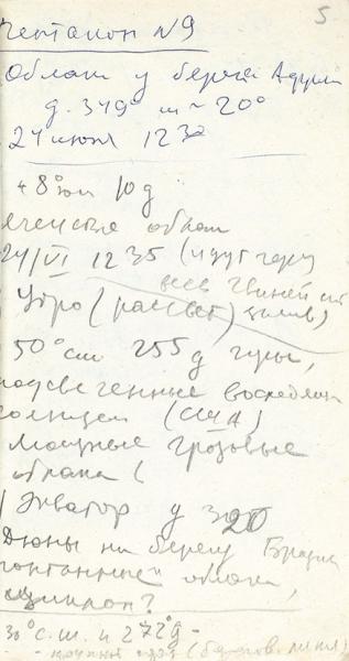 [Дневник погибшего экипажа] Пацаев, В. Рукописный черновик инженерного отчета. Союз-11, 1971.
