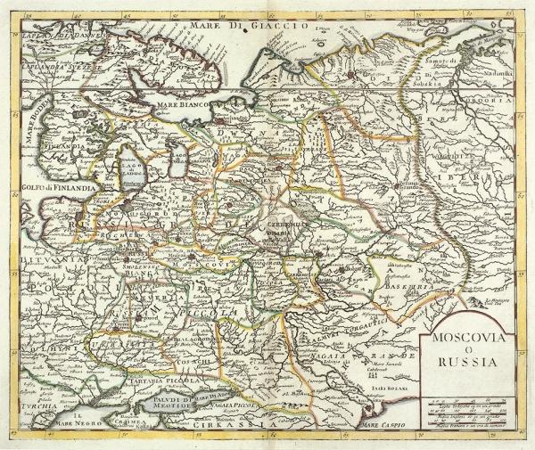 Новая карта Московии / грав. Якоб Кейзер. [Nieuwe kaart van Muscovite Nieuwe kaart van Muscovite of Rusland]. Амстердам: Изд. Исаак Тирион, 1734.