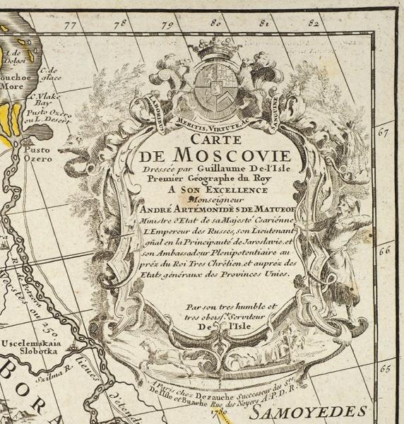 Карта Московии, составленная первым географом французского короля Гийомом Де Лислем по заказу сподвижника Петра Первого А. Матвеева в 1706 году / грав. Анри Либо. [Переиздание] Париж, 1780.