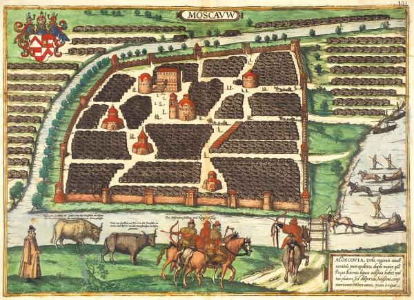Первый план Москвы, известный в мировой картографии] План Москвы Сигизмунда Герберштейна . 1575.
