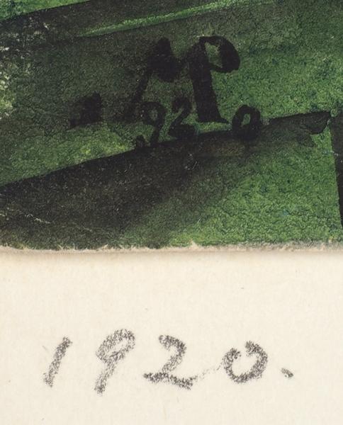 Мюллер Владимир Николаевич (1887–1978) Эскиз декораций к спектаклю по драме О. Мирбо «Жан Руль». 1920. Бумага, графитный карандаш, акварель, белила, 19,7 х 39,7 см.