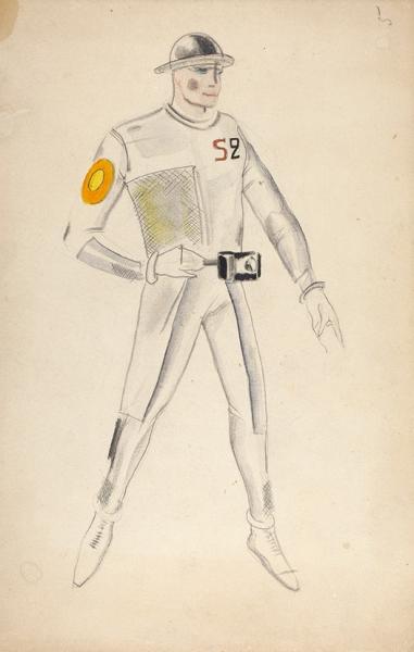 Гольц Георгий Павлович (1893–1946) Эскиз костюма к спектаклю «Электричество». Конец 1920-х. Бумага, графитный и цветные карандаши, акварель, 32 х 20,7 см.