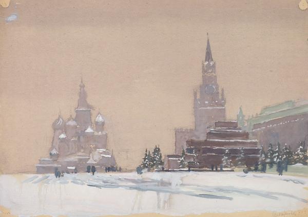 Алимова Валентина Петровна (1911— 1988(?)) «Красная площадь зимой». 1950-е. Бумага, гуашь, 29,5 х 42 см.