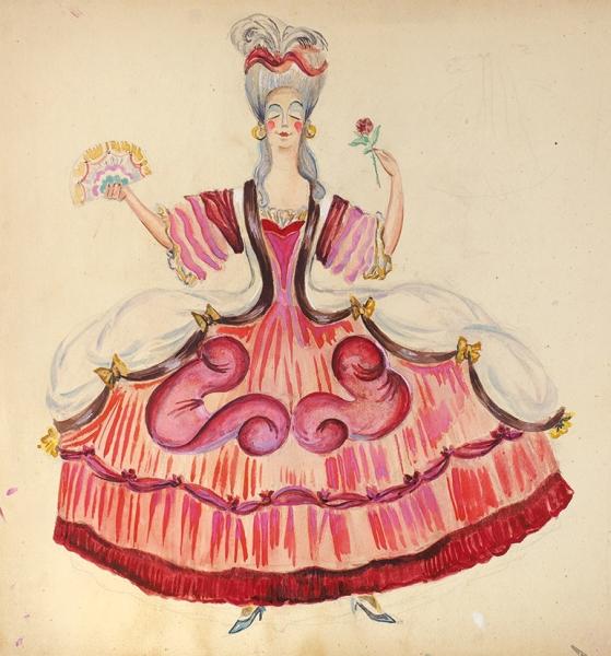 Гольц Ника Георгиевна (1925–2012) Эскиз костюма для балета С.С. Прокофьева «Золушка». 1950-е. Бумага, смешанная техника, 30,5 х 29,5 см.