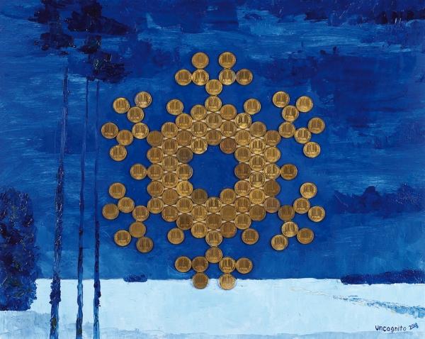Uncognito «Падал прошлогодний рубль. С Новым 1993 годом». 2018. Фанера, масло, монеты достоинством в 1 рубль (образца 1992 года), 40 х 50 см.