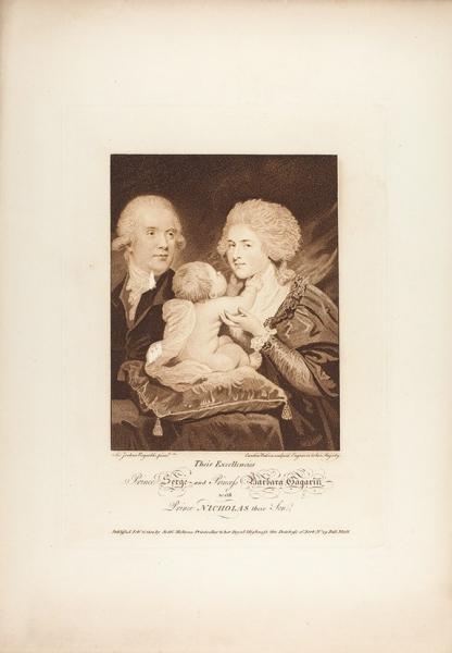 Уотсон (Watson) Каролина с оригинала Рейнолдса (Reynolds) Джошуа «Князь и княгиня Гагарины с сыном». Англия. 1800. Бумага, пунктир, карандашная манера, 36,3 х 25,5 см (лист), 24 х 17,5 см (оттиск).