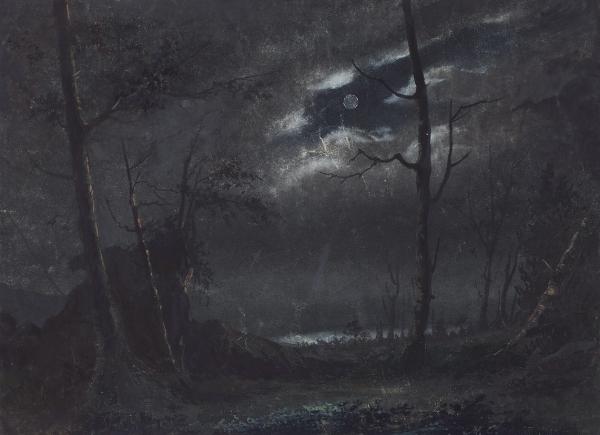 Самохотов Михаил Гаврилович (1-я половина XIX века) «Ночной пейзаж». 1840. Бумага, акварель, белила, 16,9 х 23,3 см.