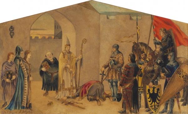 Лебедев Александр Игнатьевич (1830/1831—1898) «Жанровая сцена». 1887. Бумага, акварель, тушь, перо, 24 х 39,5 см (в свету).