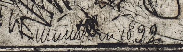 Шишкин Иван Иванович (1832–1898) Титульный лист альбома «60 офортов И.И. Шишкина. 1870-1892». 1894. Бумага, офорт, 36 х 26,2 см (лист), 32 х 22,5 см (оттиск).
