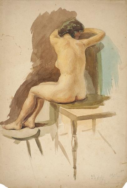Завьялов Николай Васильевич (1863—1922) «Натурщица». 1901. Бумага, графитный карандаш, акварель, 45,7 х 31 см.