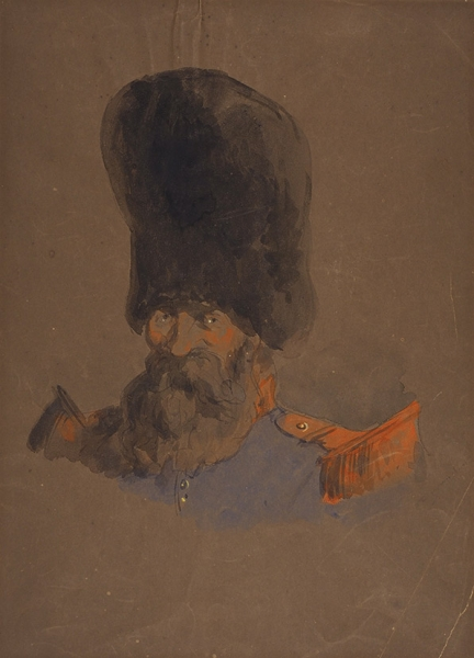 Кардовский Дмитрий Николаевич (1866–1943) «Атаман». 1910-е-1920-е. Бумага, графитный карандаш, акварель, белила, 32 х 23,8 см.