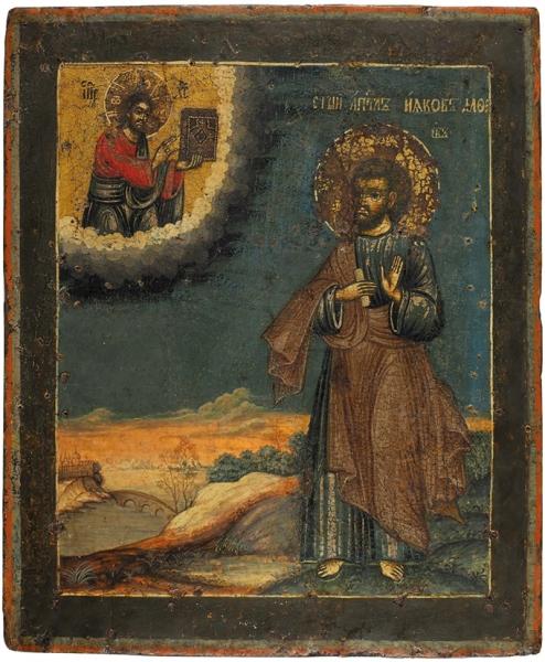 Икона «Святой Апостол Иаков Алфеев». XVIII век. Доска, левкас, темпера, золочение, 34,5 х 29 см.