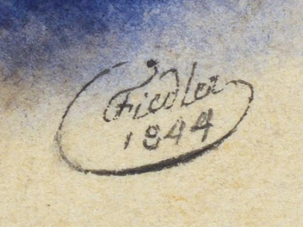 Фидлер (Fiedler) «Портрет девушки с книгой». 1844. Бристольский картон, гуашь, 25 х 20,5 см.