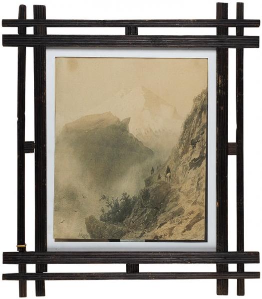 Лагорио Лев Феликсович (1827-1905) «По горной тропе». 1892. Бумага, акварель, 36 х 29,6 см.