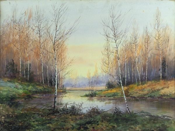 Берггольц Ричард Александрович (1865–1920) «Лесной пейзаж». 1890-е. Бумага, акварель, белила, 50 х 67 см.