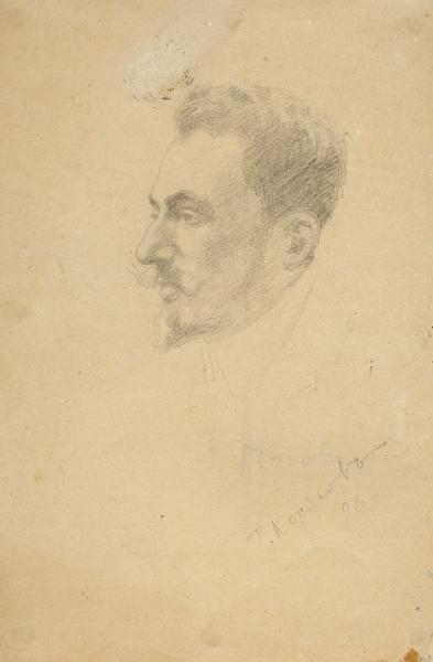 Косяков Георгий Антонович (1872–1925) «Мужской портрет». 1898. Бумага, графитный карандаш, 20 х 13 см.