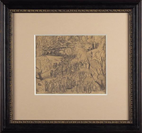 Кустодиев Борис Михайлович (1878–1927) «Зима. Крещенское водосвятие». Конец 1910-х — начало 1920-х. Бумага, графитный карандаш, 17 х 20,8 см.