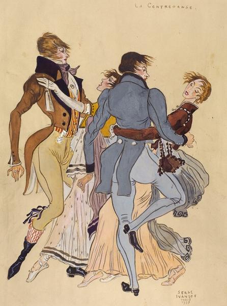Иванов Сергей Петрович (1893–1983) «La Contredance». 1937. Бумага, гуашь, 46,3 х 31 см.
