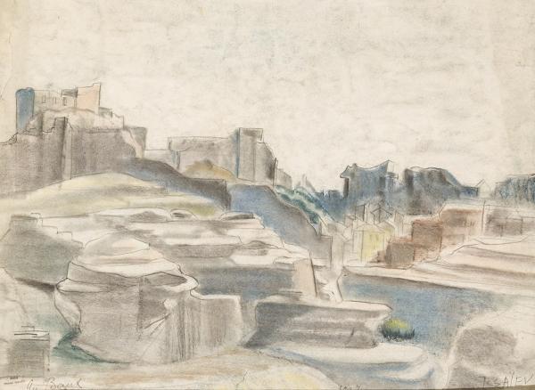 Исаев Николай Александрович (1891–1977) «ЛеБодеПрованс». 1937. Бумага, графитный карандаш, пастель, 44×59см.