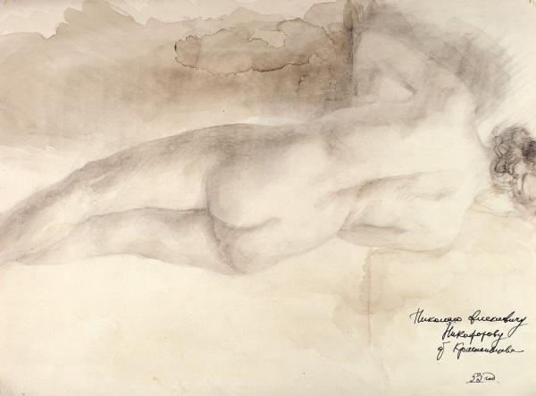Краснопевцев Дмитрий Михайлович (1925–1995) «Арка». На обороте «Натурщица». 1953. Бумага, смешанная техника, 32,3 х 43,3 см.