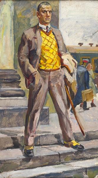 Коржевский Борис Георгиевич (1927—2004) «Маяковский едет в Америку». 1961. Картон, масло, 59 х 33 см (в свету).