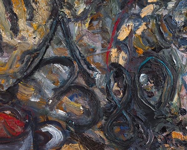 Зверев Анатолий Тимофеевич (1931 — 1986) «Тайная вечеря». 1980. Фанера (створка шкафа), масло, 39,5 х 120,5 см.