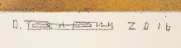 """Рабин Оскар Яковлевич (1928—2018) """"Помойка № 8"""". 2016 (по оригинальному рисунку 1958 года). Бумага, цветная линогравюра, литография, 51 х 70 см (лист), 34 х 49 см (оттиск)."""