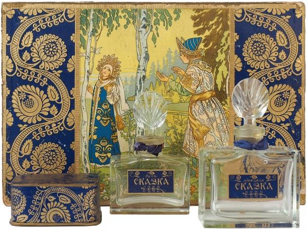 Подарочный парфюмерный набор «Сказка» / оформ. И. Билибина. Л.: Главпарфюмер; Парфюм. ф-ка [«Северное сияние»], [1940-50-е гг.].