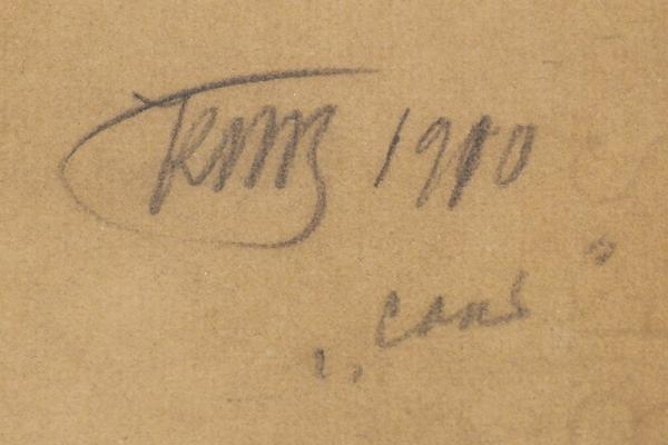 Петров-Водкин Кузьма Сергеевич (1878–1939) Фигура девушки. Этюд ккартине «Сон». 1910. Бумага, черный играфитный карандаши, акварель, 62×47,5см.