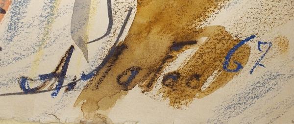 Лабас Александр Аркадьевич (1900–1983) «Женщина всамолете». Лист изсерии «Портреты». 1967. Бумага, акварель, цветные карандаши, 64×44,5см.